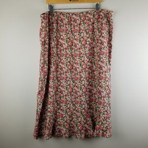 CJ Banks Pink & Brown Floral Midi Skirt